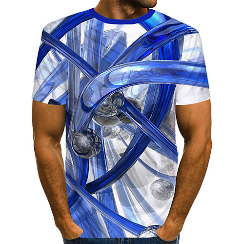 Men's T shirt Shirt Graphic 3D Print Short Sleeve Daily Wear Tops Streetwear Exaggerated Round Neck White / Club