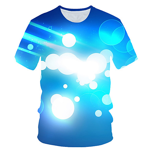 Men's T shirt Graphic Color Block 3D Print Short Sleeve Daily Wear Tops Streetwear Exaggerated Blue