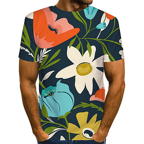 Men's Floral Color Block 3D T-shirt Print Short Sleeve Daily Wear Tops Streetwear Exaggerated Round Neck Rainbow / Club
