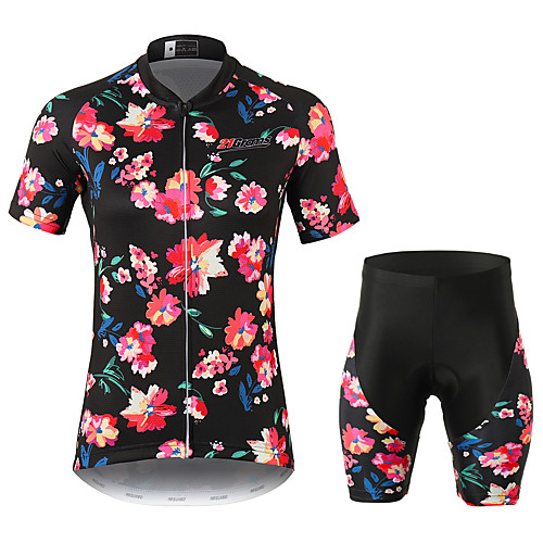 21Grams Floral Botanical Women's Short Sleeve Cycling Jersey with Shorts - Black Bike Clothing Suit Breathable Moisture Wicking Quick Dry Sports 100% Polyester Mountain Bike MTB Road Bike Cycling