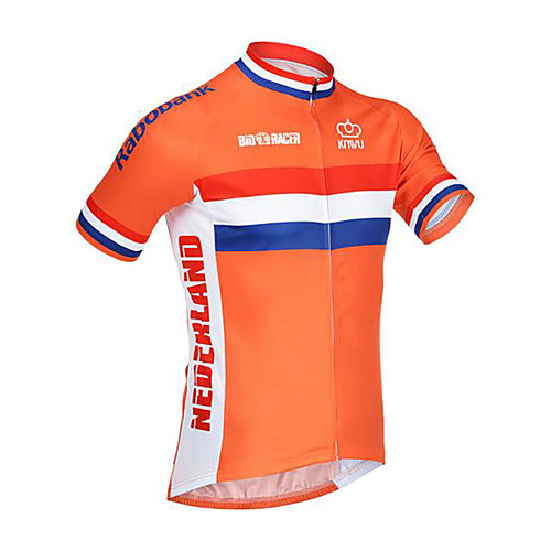 21Grams Netherlands National Flag Men's Short Sleeve Cycling Jersey - Orange Bike Jersey Top Breathable Moisture Wicking Quick Dry Sports Terylene Mountain Bike MTB Road Bike Cycling Clothing Apparel