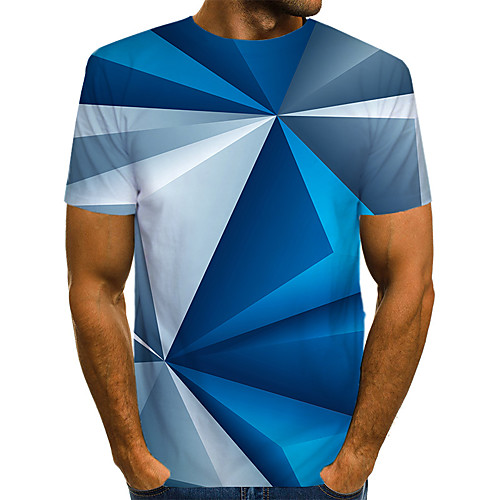 Men's Color Block 3D Graphic T-shirt Print Short Sleeve Street Tops Streetwear Exaggerated Round Neck Blue / Club