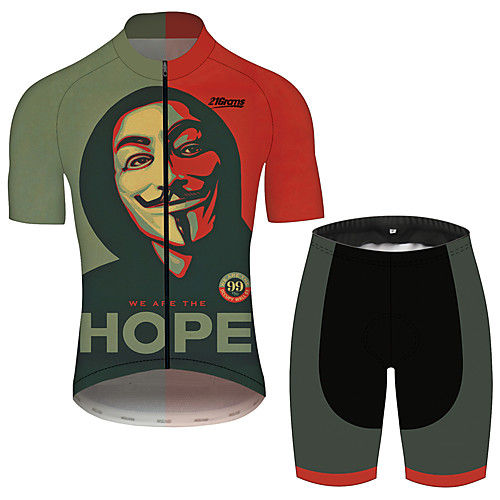 21Grams V for Vendetta Movie Men's Short Sleeve Cycling Jersey with Shorts - Black / Red Bike Clothing Suit Breathable Quick Dry Reflective Strips Sports 100% Polyester Mountain Bike MTB Clothing