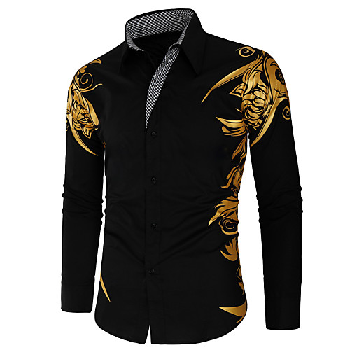 Men's Shirt Graphic Long Sleeve Daily Tops White Black Red