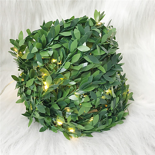 5M 50Leds Ivy Leaf Garland Holiday Lamp AA Battery Operate Copper Wire LED Fairy String Lights For Christmas Wedding Party Art Decor (Come Without Battery)