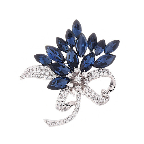Women's AAA Cubic Zirconia Brooches Bowknot Stylish Simple Fashion Sweet Austria Crystal Brooch Jewelry Silver For Party Wedding Gift Engagement Work