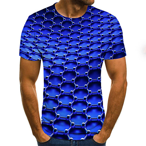 Men's Tee T shirt Shirt 3D Print Graphic Optical Illusion Plus Size Print Short Sleeve Weekend Tops Classic & Timeless Streetwear Comfortable Big and Tall Round Neck Blue Red Yellow / Summer