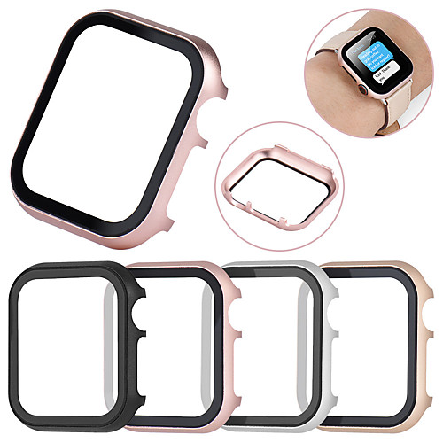 All-inclusive Tempered Glass Film Protective Case For Apple Watch 40mm/44mm/38mm/42mm Metal Shell Frame For Apple Watch Series 4/3/2/1