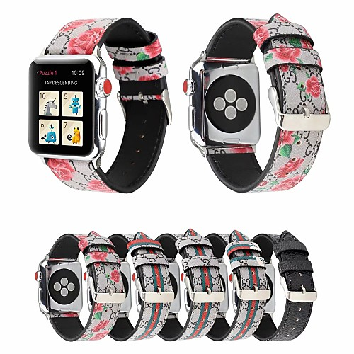 Flower Splicing Stripe Genuine Leather strap For Apple Watch Band 38mm 42mm 40 44mm Watchband For Apple iWatch Series 5 4 3 2 1