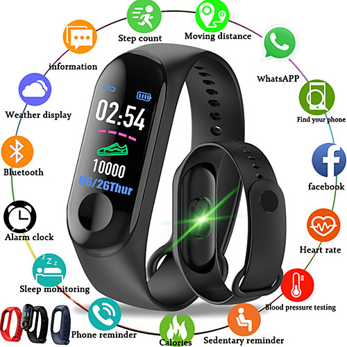 M3 Smart Wristband BT Fitness Tracker Support Notify/Heart Rate Monitor Waterproof Sport Bluetooth Smartwatch Compatible IOS/Android Phones