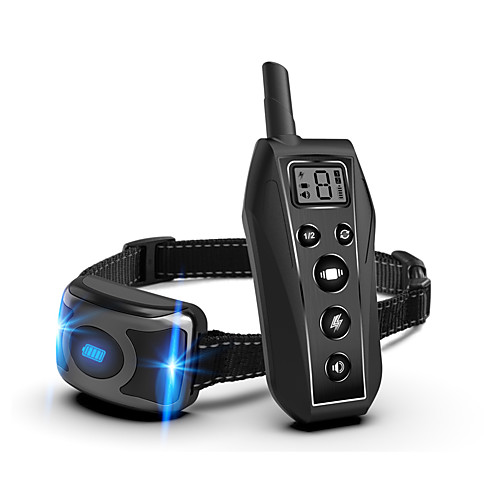 Dog Training Anti Bark Collar Shock Collar Adjustable Length Remote Controlled Sound Dog Electric Dog 500M Range Waterproof Rechargeable Automatic Case Included Adjustable Flexible Safety Resin Nylon