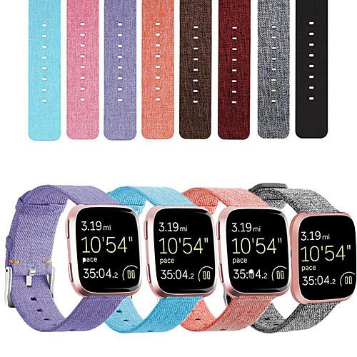 Nylon Canvas Watch Band For Fitbit Versa 2 / Versa Lite Replaceable Bracelet Wrist Strap WristBand