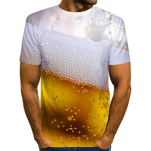 Men's Tees T shirt 3D Print Graphic Beer Print Short Sleeve Daily Tops Chic & Modern Comfortable Big and Tall Red Yellow Gold