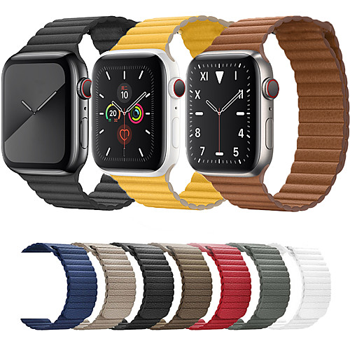 Compatible with Apple Watch Band 44mm 42mm 40mm 38mm - Adjustable Leather Strap with Magnetic Closure System for iWatch Series 5/4/3/2/1