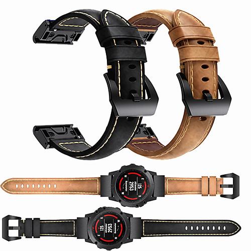 Luxury Leather Watch Band For Garmin Fenix 6 Pro / Fenix 5 Plus / Approach S60 / Forerunner 935 / Quatix5 Sapphire Quick Release Easy fit Bracelet Wrist Strap Wristband