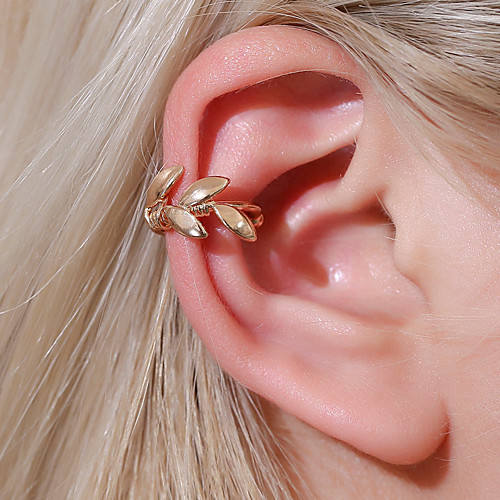 Women's Clip on Earring Ear Cuff Retro Leaf Earrings Jewelry Gold / Silver For Graduation Engagement Daily Holiday Festival