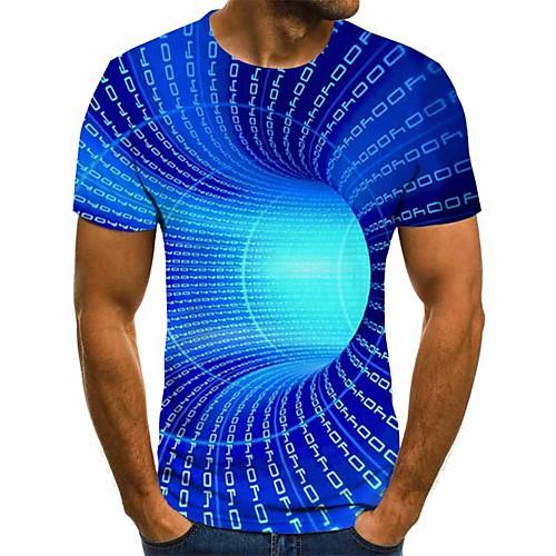 Men's T shirt Graphic 3D Plus Size Short Sleeve Daily Tops Basic Blue Purple Yellow