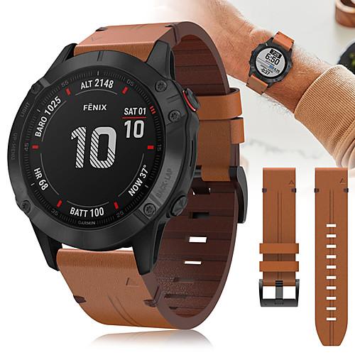 22mm Luxury Leather Watch Band For Garmin Fenix 6 Pro / Fenix 5 Plus / Forerunner 935 / 945 / Approach S60 / Quatix 5 Sapphire Quick Fit Release Bracelet Wrist Strap Wristband