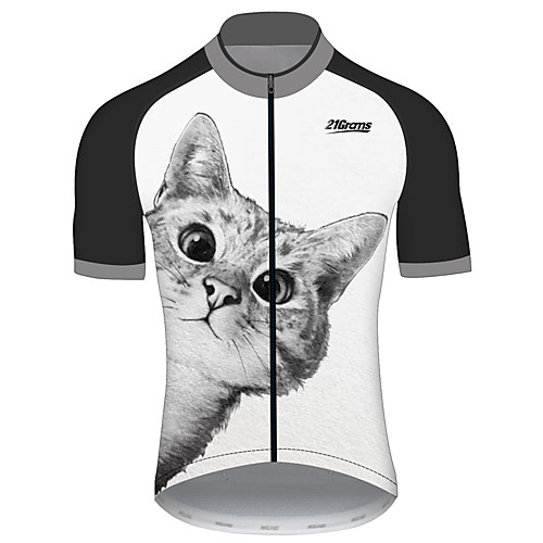 21Grams Men's Women's Short Sleeve Cycling Jersey Polyester Spandex Black / White Cat Animal Bike Jersey Top Mountain Bike MTB Road Bike Cycling UV Resistant Breathable Quick Dry Sports Clothing