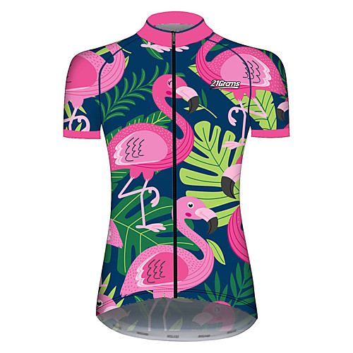 21Grams Women's Short Sleeve Cycling Jersey Spandex Polyester PinkGreen Flamingo Animal Floral Botanical Bike Jersey Top Mountain Bike MTB Road Bike Cycling UV Resistant Breathable Quick Dry Sports