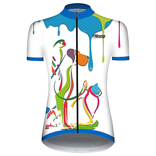 21Grams Women's Short Sleeve Cycling Jersey Blue / White Cat Dog Animal Bike Jersey Top Mountain Bike MTB Road Bike Cycling UV Resistant Breathable Quick Dry Sports Clothing Apparel / Stretchy / Bird