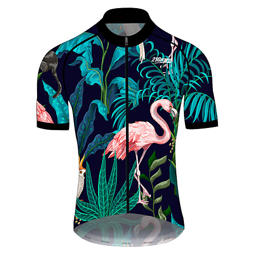 21Grams Men's Short Sleeve Cycling Jersey Summer Spandex Polyester PinkGreen Flamingo Floral Botanical Animal Bike Jersey Top Mountain Bike MTB Road Bike Cycling UV Resistant Quick Dry Breathable