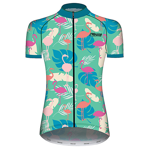 21Grams Women's Short Sleeve Cycling Jersey Summer Spandex Polyester BlueWhite Flamingo Floral Botanical Animal Bike Jersey Top Mountain Bike MTB Road Bike Cycling UV Resistant Quick Dry Breathable