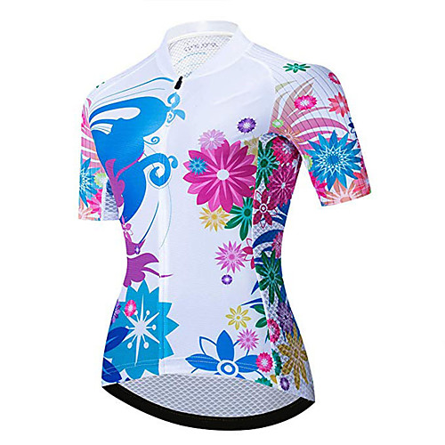 21Grams Women's Short Sleeve Cycling Jersey Summer Spandex Polyester Red / White Floral Botanical Bike Jersey Top Mountain Bike MTB Road Bike Cycling UV Resistant Quick Dry Breathable Sports Clothing