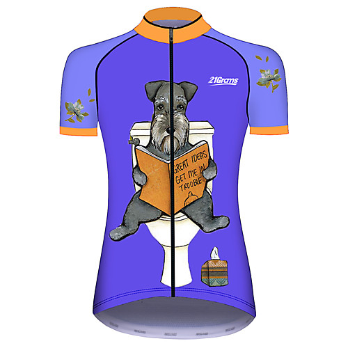 21Grams Women's Short Sleeve Cycling Jersey Summer Blue Dog Animal Bike Jersey Top Mountain Bike MTB Road Bike Cycling UV Resistant Quick Dry Breathable Sports Clothing Apparel / Stretchy / Race Fit