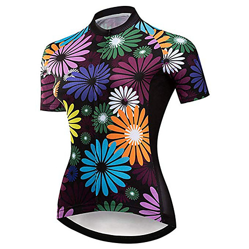 21Grams Women's Short Sleeve Cycling Jersey Purple Floral Botanical Bike Jersey Top Mountain Bike MTB Road Bike Cycling UV Resistant Breathable Quick Dry Sports Clothing Apparel / Stretchy / Race Fit
