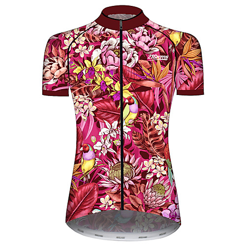 21Grams Women's Short Sleeve Cycling Jersey Summer Spandex Polyester Rose Red Floral Botanical Bird Animal Bike Jersey Top Mountain Bike MTB Road Bike Cycling UV Resistant Quick Dry Breathable Sports