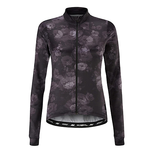 21Grams Women's Long Sleeve Cycling Jersey Dark Grey Floral Botanical Bike Jersey Top Mountain Bike MTB Road Bike Cycling UV Resistant Breathable Quick Dry Sports Clothing Apparel / Stretchy