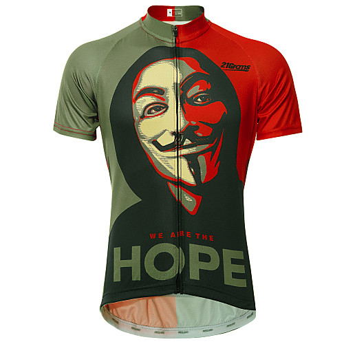 21Grams V for Vendetta Movie Men's Short Sleeve Cycling Jersey - RedBrown Bike Jersey Top Breathable Quick Dry Reflective Strips Sports 100% Polyester Mountain Bike MTB Road Bike Cycling Clothing