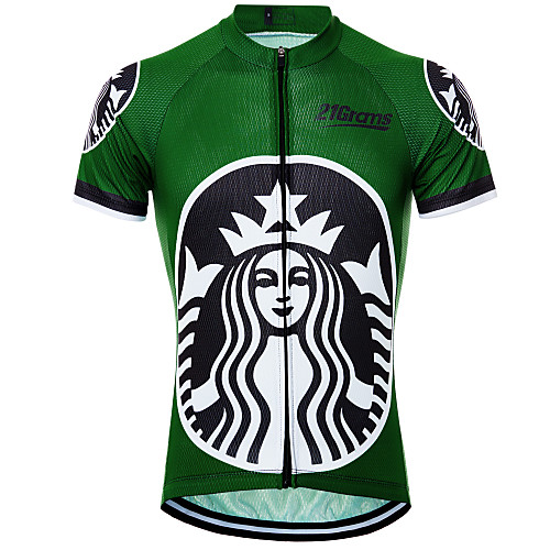 21Grams Men's Women's Short Sleeve Cycling Jersey Green White Novelty Skull Bike Jersey Top Mountain Bike MTB Road Bike Cycling Breathable Quick Dry Moisture Wicking Sports Clothing Apparel