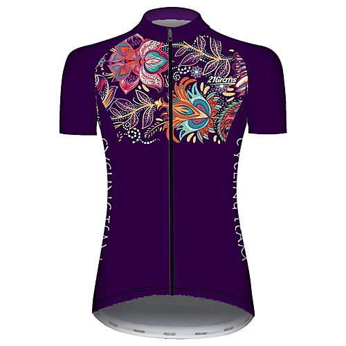 21Grams Women's Short Sleeve Cycling Jersey Summer Violet Floral Botanical Bike Jersey Top Mountain Bike MTB Road Bike Cycling UV Resistant Quick Dry Breathable Sports Clothing Apparel / Stretchy