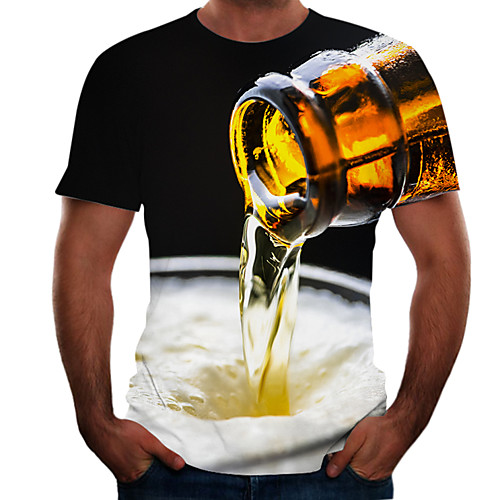 Men's T shirt Graphic 3D Beer Plus Size Short Sleeve Going out Tops Basic Dark Grey Black Grey
