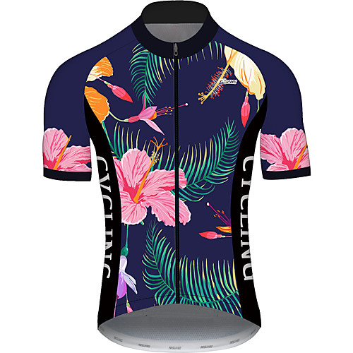 21Grams Men's Short Sleeve Cycling Jersey Summer PinkGreen Floral Botanical Bike Jersey Top Mountain Bike MTB Road Bike Cycling UV Resistant Quick Dry Breathable Sports Clothing Apparel / Stretchy