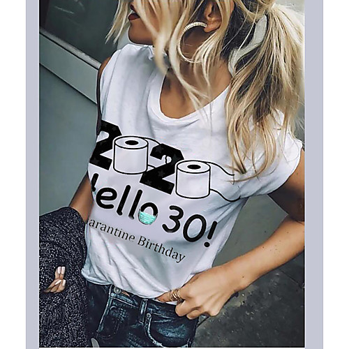 Women's Graphic Prints Print T-shirt Basic Daily White