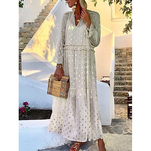 Women's Plus Size Maxi Dress - Long Sleeve Polka Dot Print Summer V Neck Boho Holiday Vacation Loose 2020 White Blue Blushing Pink Green S M L XL XXL XXXL XXXXL XXXXXL
