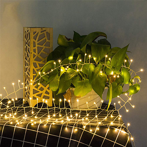 5M 200Leds Copper Wire LED Flexible String Lights Firecracker Fairy Garland Lights for Christmas Window Wedding Party Warm White Home Decor AA Battery Operated (come without battery)
