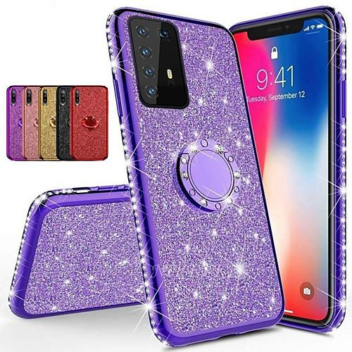 Diamond 360 Degree Rotating Ring Holder Plating Soft TPU Glitter Bling Case For Samsung S20 Ultra S10 Plus 5G A51 A71 A91 A81 A70E A20E A60 A90 A80 A41 A21 A11 A01 Note 10 Note 9 Note 8 Shining Case