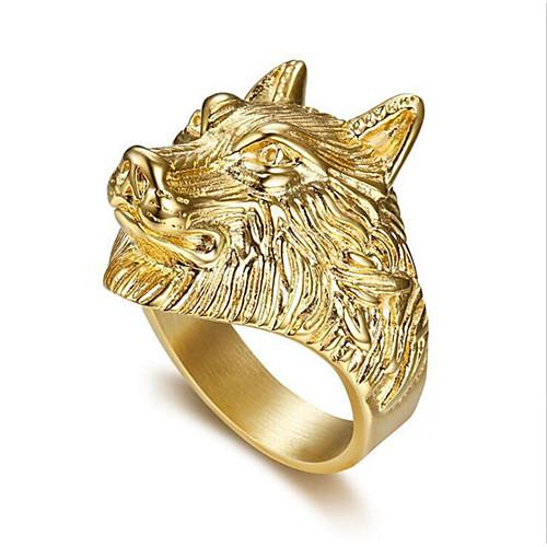 Ring Classic Gold Titanium Steel Wolf Head Stylish 1pc 8 9 10 11 12 / Men's