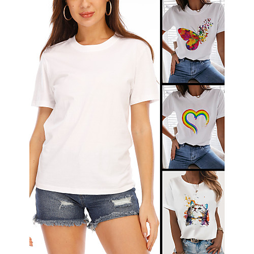 Women's T-shirt Rainbow Graphic Prints Tops - Print Round Neck Cotton Basic Daily Spring Summer Butterfly White Black XS S M L XL 2XL