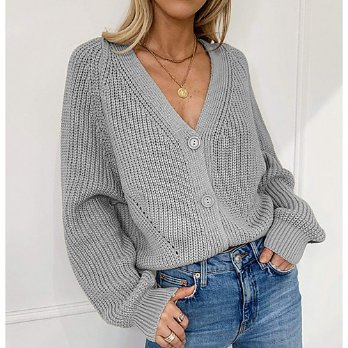 miniinthebox / Damen Solide Langarm Strickjacke Pullover Jumper, V-Ausschnitt Weiß / Schwarz / Khaki S / M / L