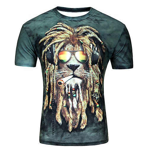 Men's Plus Size Graphic Animal Print Slim T-shirt Daily Casual Round Neck Purple / Light Green / Army Green / Orange / Dark Green / Dark Blue / Summer / Short Sleeve