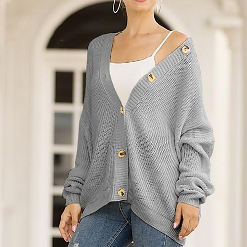 miniinthebox / Damen Solide Langarm Strickjacke Pullover Jumper, V-Ausschnitt Weiß / Blau / Rosa S / M / L