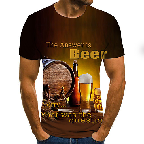 Men's T shirt 3D Print Graphic Beer Plus Size Pleated Print Short Sleeve Daily Tops Streetwear Exaggerated Yellow