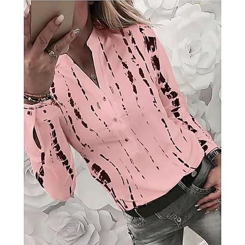 Women's Print Shirt Basic Daily Shirt Collar White / Blue / Red / Yellow / Blushing Pink / Gray