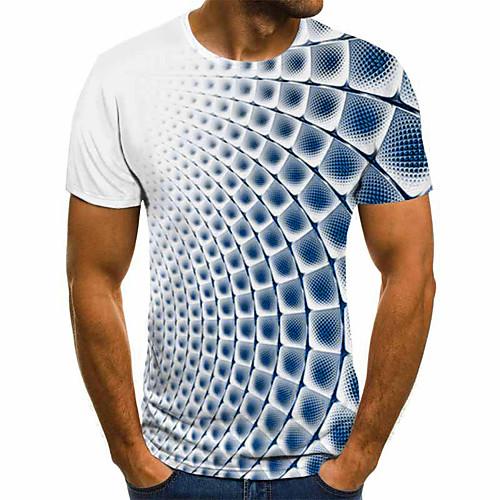 Men's 3D Graphic T-shirt Basic Daily Round Neck Blue / Purple / Gray / Light Blue / Short Sleeve