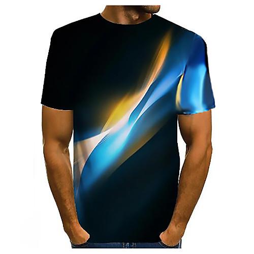 Men's 3D Graphic T-shirt Basic Daily Round Neck Dark Yellow / White / Black / Purple / Yellow / Blushing Pink / Orange / Champagne / Short Sleeve